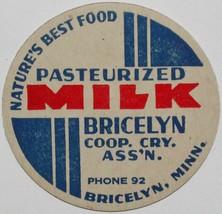 Vintage milk bottle cap BRICELYN COOP CRY ASSN Phone 92 Bricelyn Minnesota - $9.99