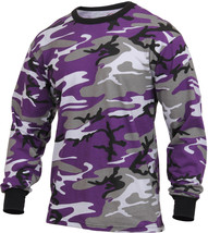 Mens Purple Camouflage Long Sleeve Tactical Military T-Shirt Ultra Viole... - $13.99+