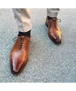 Two Tone Tan Brown Cont Burnished Brogue Toe Magnificent Leather Lace up... - $144.99+