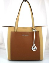 AUTHENTIC NEW NWT MICHAEL KORS LEATHER $298 GEMMA LARGE POCKET BROWN TOTE - $118.00