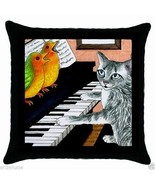 Black Throw Pillow Case Cushion cover Cat 457 playing piano bird L.Dumas - $20.99