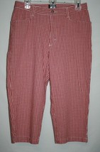 Lee Misses 12 M Red White Plaid Capri Pants Casual Summer Beach Cotton Stretch - $14.75