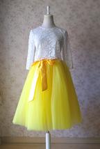 YELLOW Midi Tulle Skirt Yellow Wedding Bridesmaid Tulle Skirt 6-layer Tutu Skirt image 3