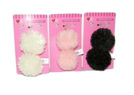 Shoe PomPom Clips Lot Pink Cream Black Sparkle Fluffy Ornament Heels Boo... - $11.56