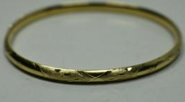 18K Yellow Gold Oval Bangle Bracelet Slides Open, Box Included - $465.59