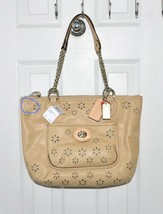Coach Bag Poppy Eyelet Leather Chain  Tote Cappuccino 23842 - $179.00