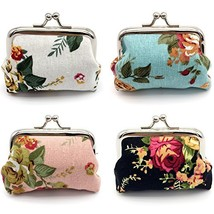 Elesa Miracle 4pc Women Girl Canvas Floral Coin Purse Clutch Pouch Walle... - $12.33