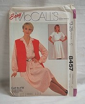 McCall's Easy 8457 Sewing Pattern Size F 16 18 20 Misses' Dress & Vest NOS - $6.92