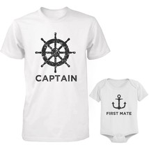 Captain Father Shirt And First Mate Infant Onesie Outfit Set Father's Day Gift - $34.99+