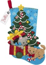 Bucilla The Pawfect Gift Kittens Cat Animals Christmas Felt Stocking Kit... - $48.95