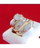 Sim Diamond Trio Set 14k Yellow GP 925 Silver His & Her Ring Engagement ... - $120.00