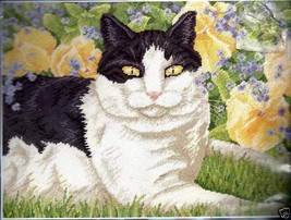 "New 2004 Janlynn Needlepoint Kit Purring In Pansies Cat 16"" X 12"" Ship Int'l - $33.00"