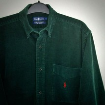 Ralph Lauren Purple Label Corduroy Shirt L Cotton 3/4 Sleeve Top Green R... - $49.49
