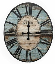 "Wall Clock 29"" 2.5' Large Wooden Distressed Blue Coastal Rustic Shabby C... - $199.00"