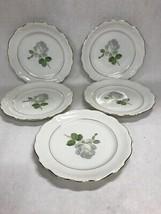 Johann Haviland Bavaria White Rose Bread Butter Plates 8 in  Germany lot 5 - $27.22