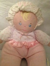 "Eden Terry Cloth Baby Doll Pink Polka Dot Plush Soft Toy Rattle 12"" Eyelet Trim - $15.00"
