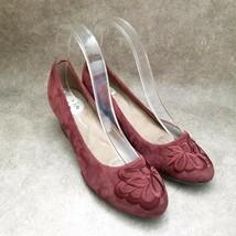 Easy Spirit Womens Largie  Size 8.5 W Red  Leather Slip On Wedge Heels - $19.99