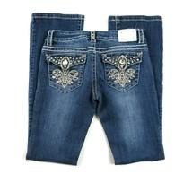 Miss Chic Womens Boot Cut Leg Jeans Blue Med Wash Denim Embelished Sz 1 ... - $39.59
