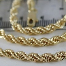 18K YELLOW GOLD CHAIN NECKLACE 4 MM BIG BRAID ROPE LINK 23.60 IN. MADE IN ITALY image 2