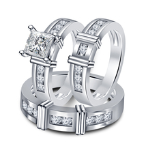14k White Gold Plated 925 Silver Princess Cut Diamond Engagement Ring Trio Set - $152.99