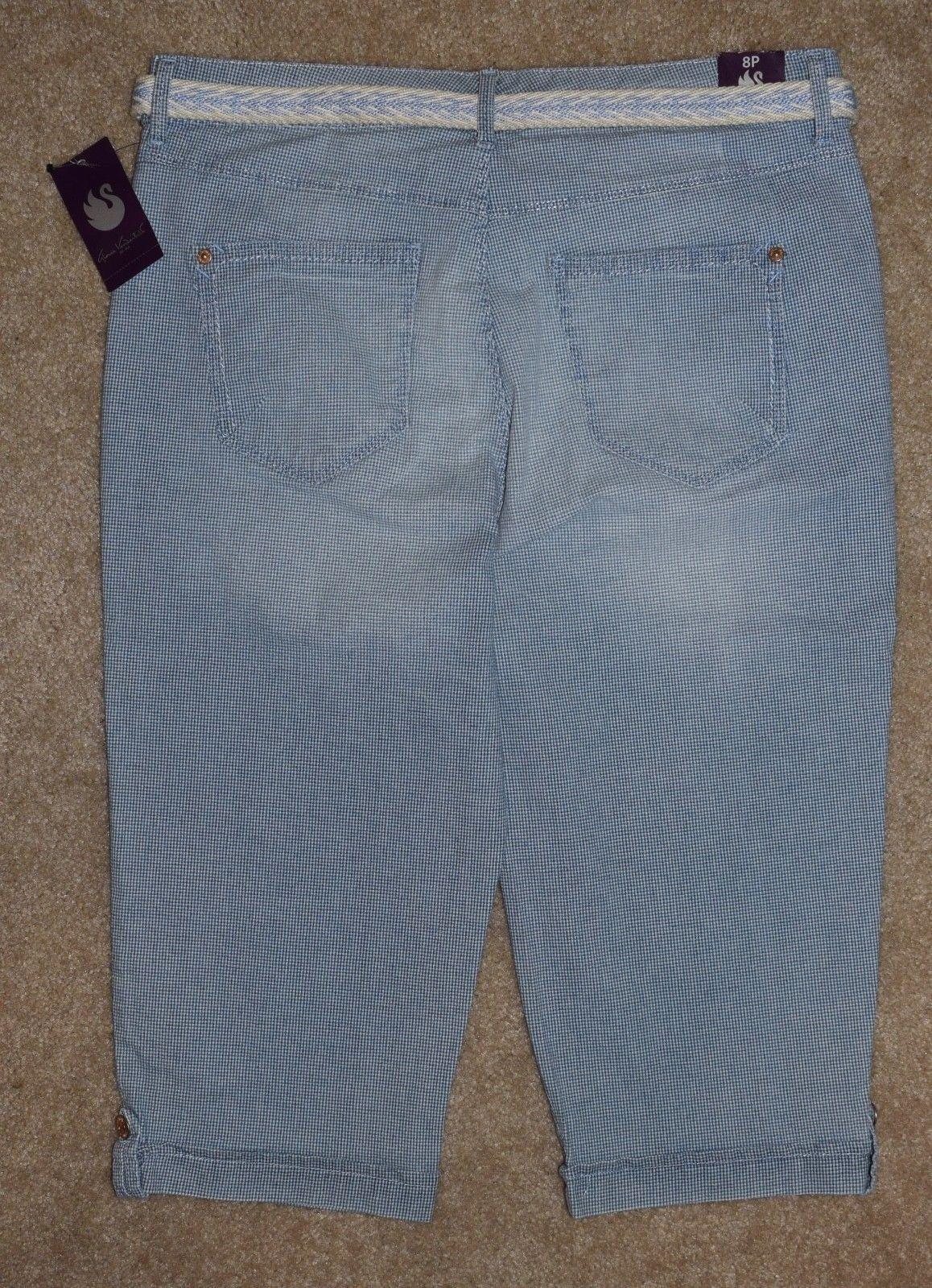 New Gloria Vanderbilt 8P Jeans Skimmer Capris Marbella Belted Slimming Stretch