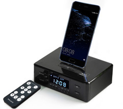 bluetooth stereo speaker with fm radio dual alarm smart charge remote control black 03 thumb200