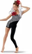 Weissman Asymmetrical One Leg Graphic Unitard Bodysuit Black White 7274 ... - $14.67