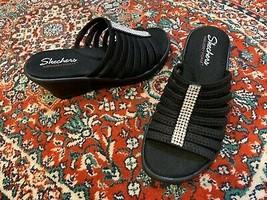 Skechers Rumblers Hot Shot 7 Ew E+ Wedge Slides Sandals Strappy Rhinestones Ln - $22.50