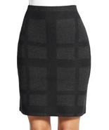 Eileen Fisher Women Black Grey Merino Wool Plaid Square Mini Short Skirt XL - $63.99