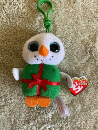 Primary image for NEW Ty Baby Beanie Boo Snowman SHIVERS Christmas Snowman Keychain Backpack