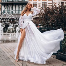 Vintage Lantern Sleeve White Best Bridal Gown Open Back V-neck Formal Party Gown image 1