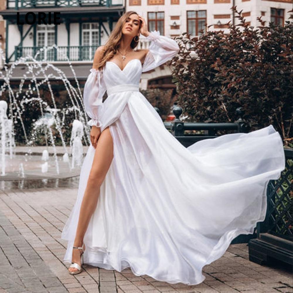 Lorie cheap chiffon beach wedding dresses 2020 puffy sleeve white best bridal gown open back v