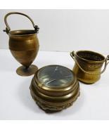Vintage lot of 3  Italian Miniature Brass urn bucket round trinket powde... - $35.64