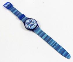 Swatch Linajola GN237 Blue Stripe Wrist Watch 2012 Standard 32mm WORKS - $28.96