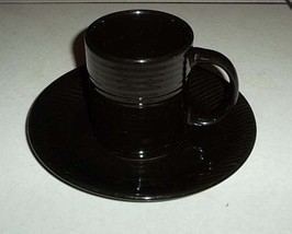 Gibson Black Color Collectible Houseware Cup & Saucer Set Stoneware Made... - $26.99