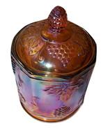 Vintage Indiana Colony Harvest Amber Carnival Glass Canister Jar Lid Grape Sm - $15.00