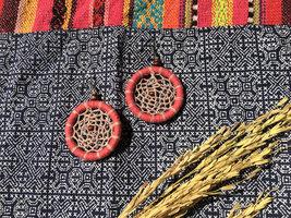 Pink circle dangle Earrings, Handmade earrings from cotton threads & woo... - $15.99