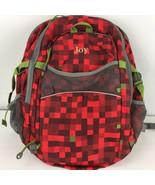 Lands End Kids Medium Backpack Red Check Plaid Monogramed Joy School Tote - $44.54