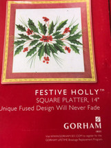 "Gorham Christmas Festive Holly Square Platter 14""  WITH BOX - $34.60"