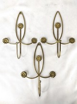 "Three Vintage Daisy Coat or Towel Hooks Metal 10"" Tall by 7"" wide - $30.00"