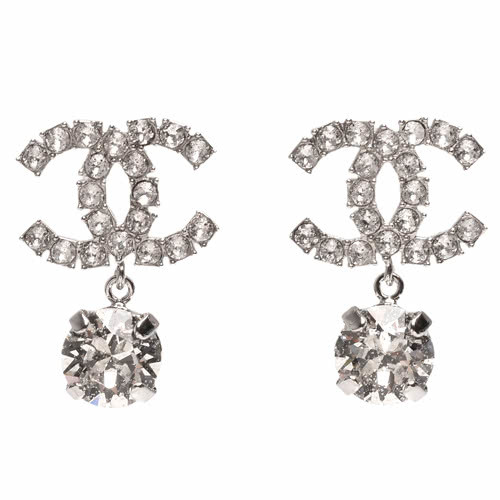 100% AUTH NEW CHANEL LARGE CC Crystal Dangle Drop Earrings