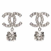 100% AUTH NEW CHANEL LARGE CC Crystal Dangle Drop Earrings image 1