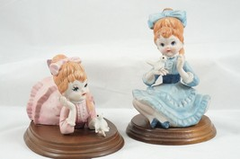 Vintage Porcelain Bisque Ceramic Girls Figures Wood Bases Price Products - $23.71