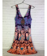 VENUS Womens Size S Beaded Embellished Multi Print Mini Dress Sleeveless... - $31.18