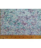 1/2 yd Butterflies/Floral Pale Blues Lavender quilt fabric - free shipping - $6.99