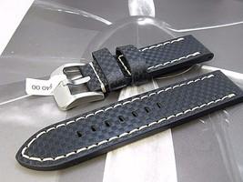 22mm euro carbon fiber genuine leather watch ba... - $23.12