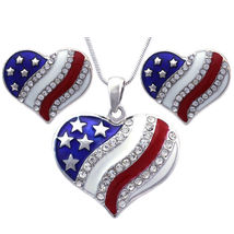 Heart Necklace and Earrings Set 4th of July USA American Patriotic Flag ... - $29.98