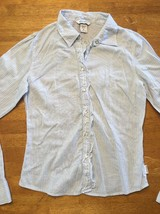 Abercrombie Girl's Blue & White Striped Long Sleeve Dress Shirt - Size XL image 2