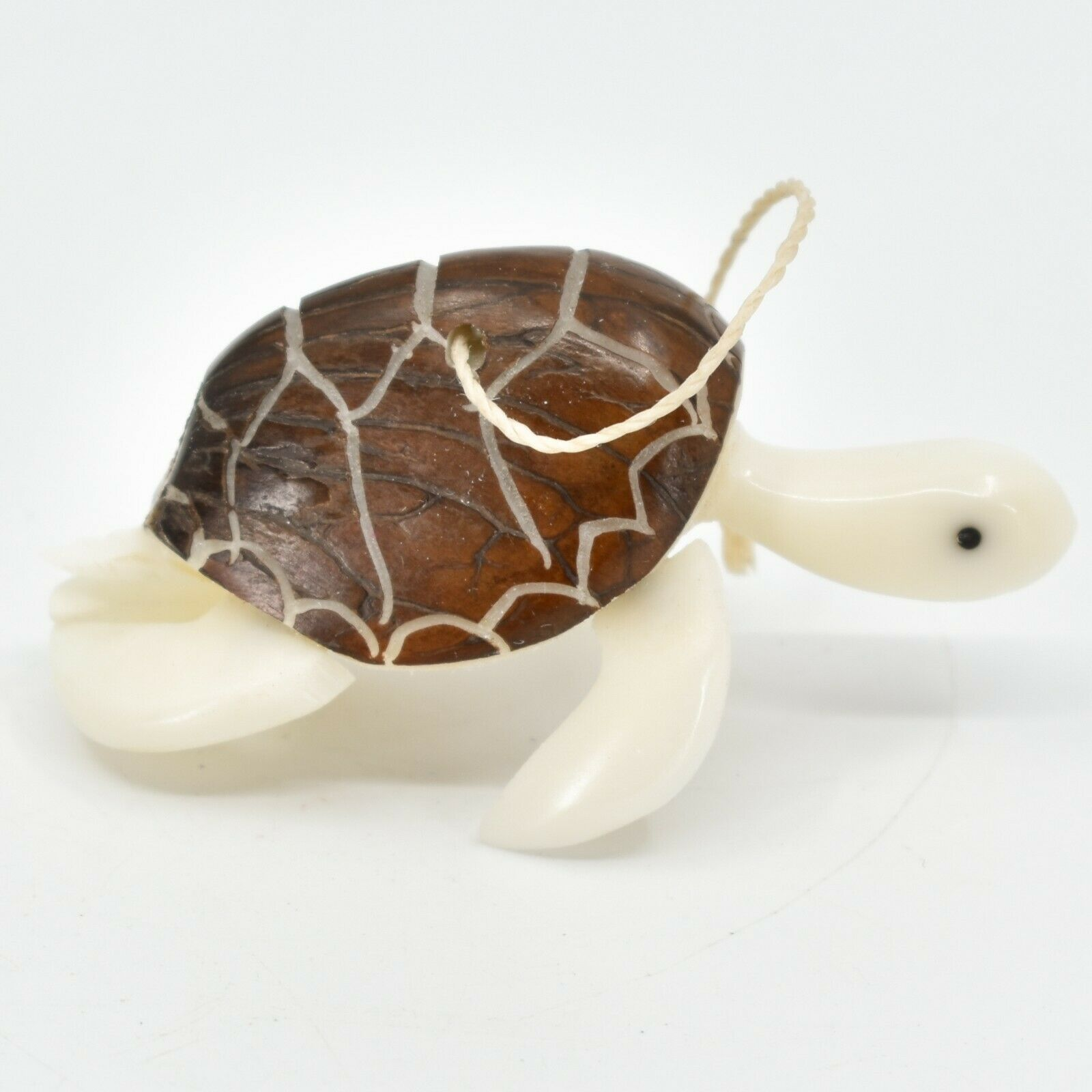 Hand Carved Tagua Nut Carving Sea Turtle Hanging Ornament Handmade in Ecuador