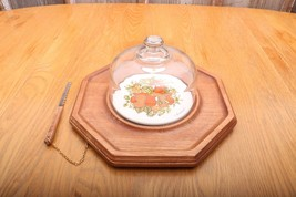 Goodwood Cheese Cracker Board & Glass Dome & Knife Made In Japan Vintage - $37.39